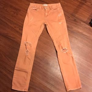 Free People Coral Distressed Jeans Sz 27